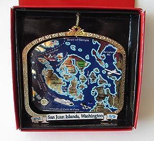San Juan Islands Washington Brass Christmas ORNAMENT Souvenir Gift