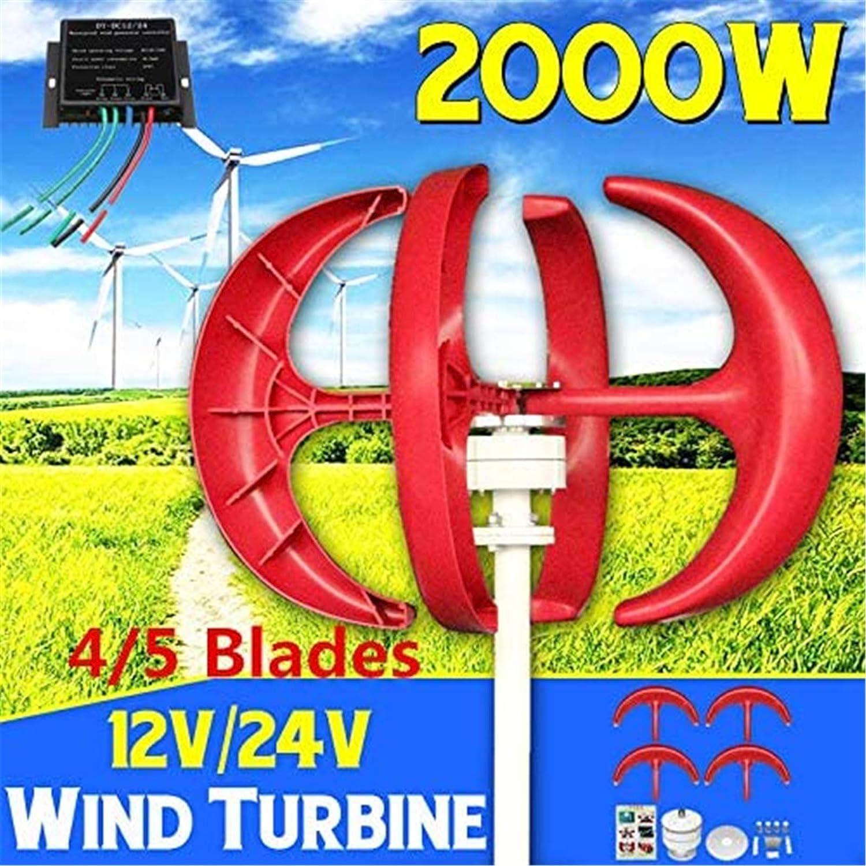 RDJM Turbina eólica Aerogeneradores, 5 Palas 2000W Viento generador de turbinas + Controlador 12V24V Linterna Vertical axises por residenciales de los hogares Farola Uso (Color : 24V)