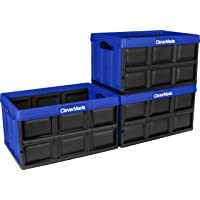 CleverMade 46L Collapsible Storage Bins - Durable Folding Plastic Stackable Utility Crates, Solid Wall CleverCrates, 3 Pack, Royal Blue