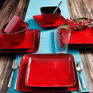 Better Homes & Gardens Rave Square Dinnerware - Red - Set Of 16