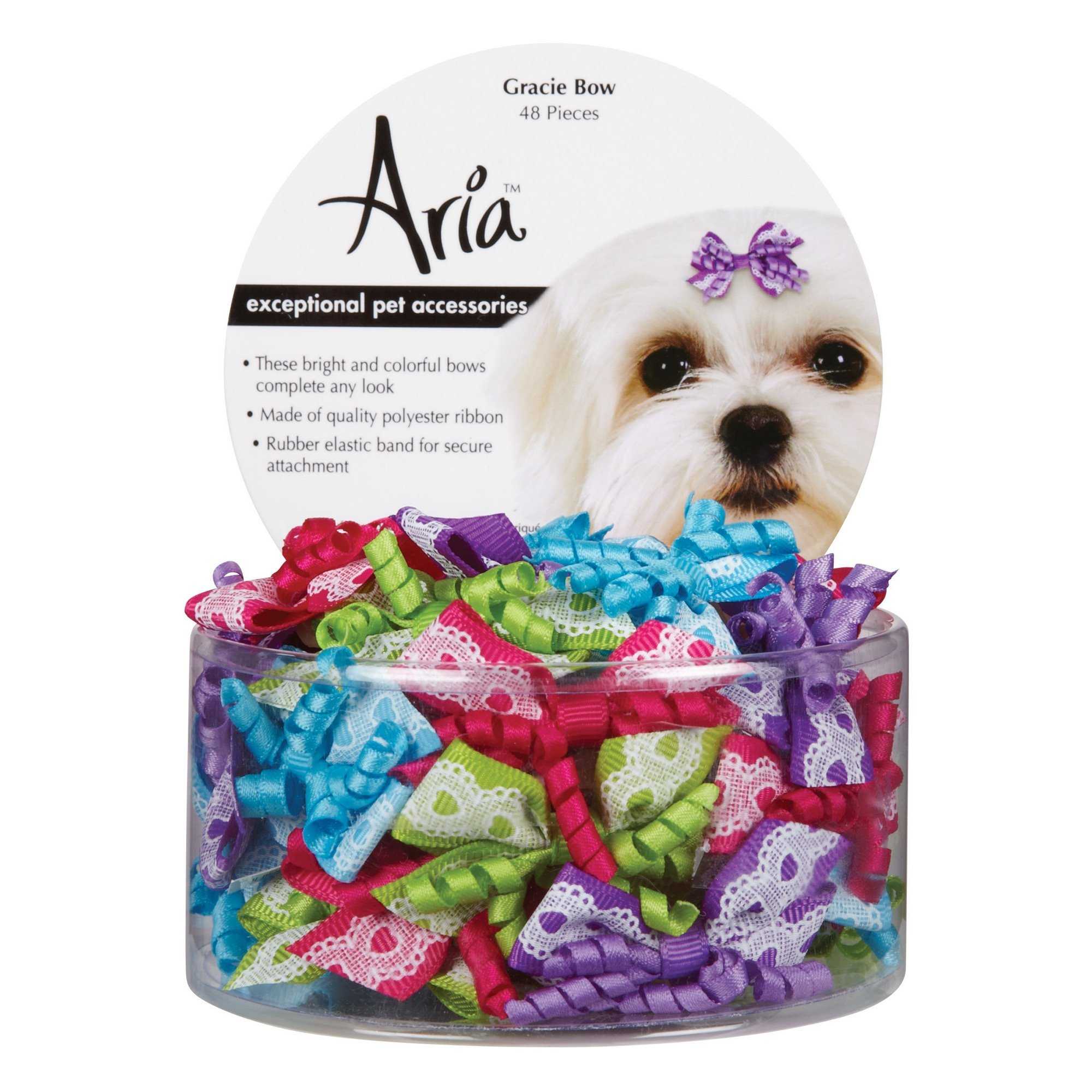 Aria Gracie Bows for Dogs, 48-Piece Canisters by Aria