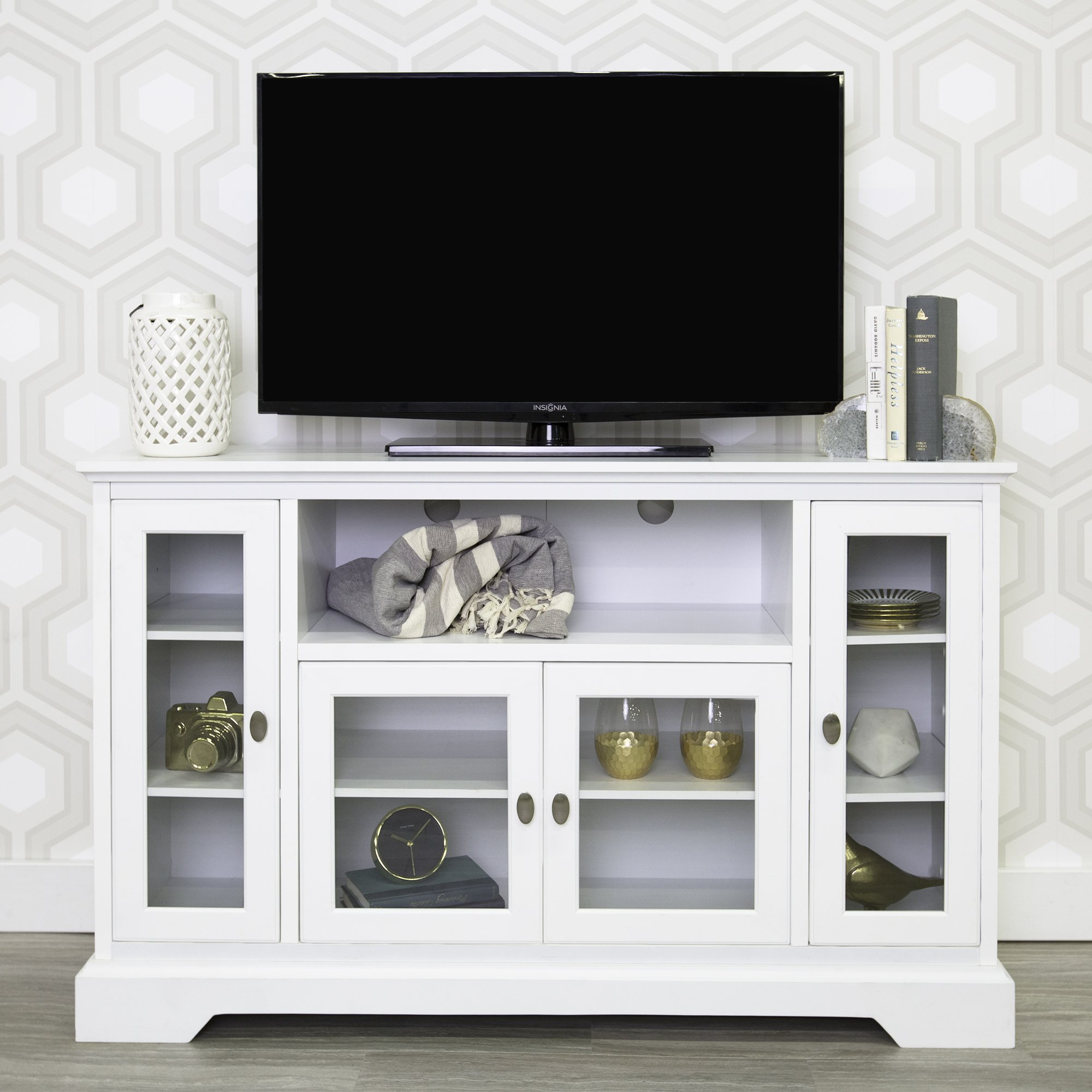 WE Furniture 52'' Wood Highboy Style Tall TV Stand - White by WE Furniture