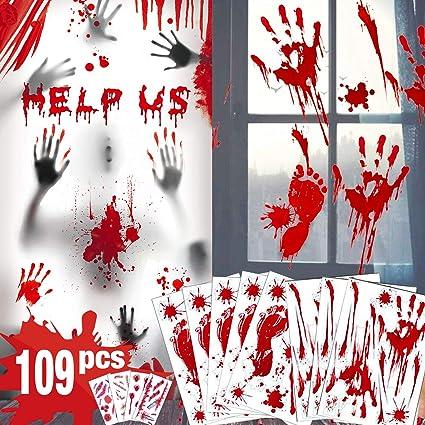 bloody handprint footprint window decal