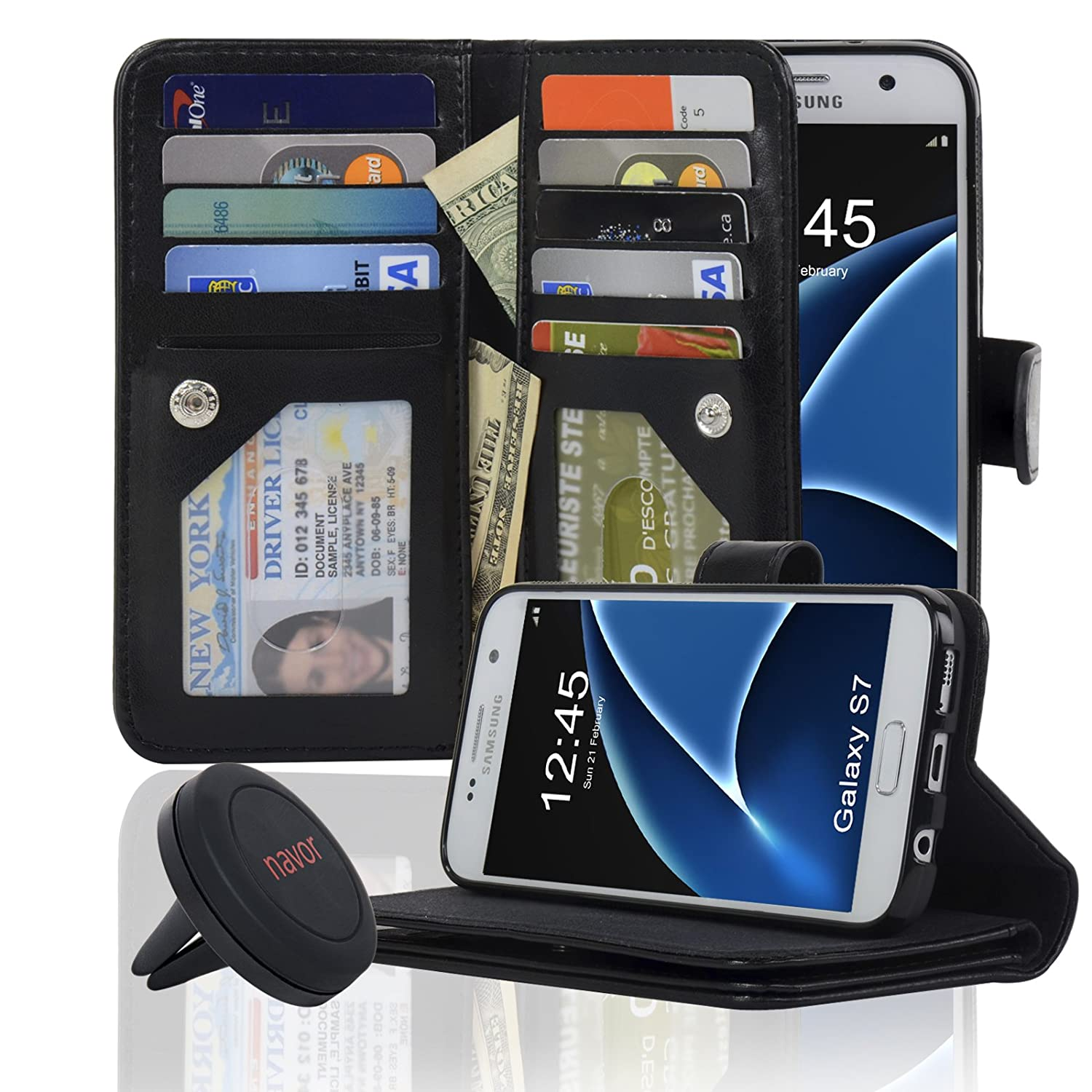Navor JOOT3 Series Samsung Galaxy S7 Wallet Case with Detachable Magnetic Cover - Black (S7O3LBK)