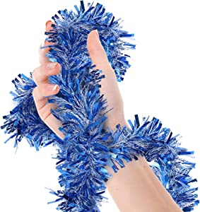 Blue and White Tinsel Garland Wide Cut Metallic Streamers for Holiday Christmas Wedding Halloween Carnival Patriotic Fourth of July Hanukkah Graduation Memorial Day Party Decorations