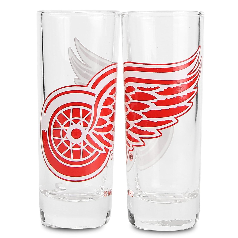 Detroit Red Wings Boelter NHL Color Team Logo 2oz Cordial Shot Glass 2-Pack Big Logo