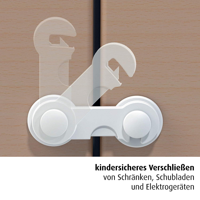 Bügel Kindersicherung für Schrank Schränke ohne Schrauben Bohren Kleben weiß