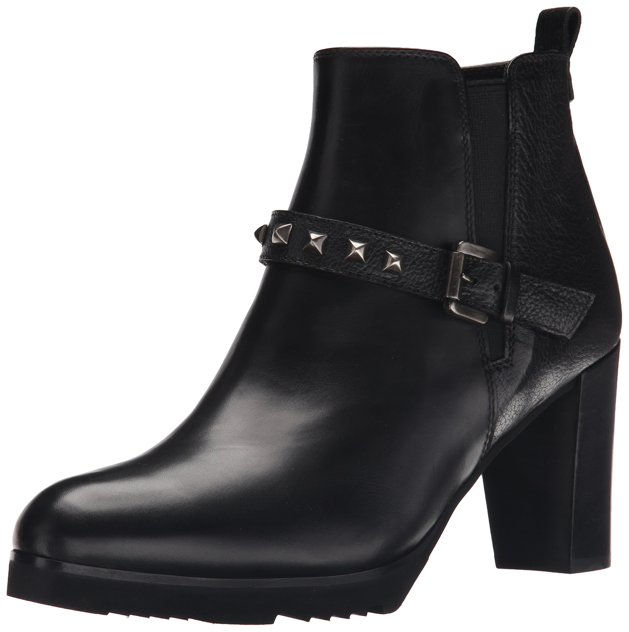 Anyi Lu Women's Zayra Chelsea Boot, Black Calf/Tumbled, 37.5 EU/7-7.5 B US
