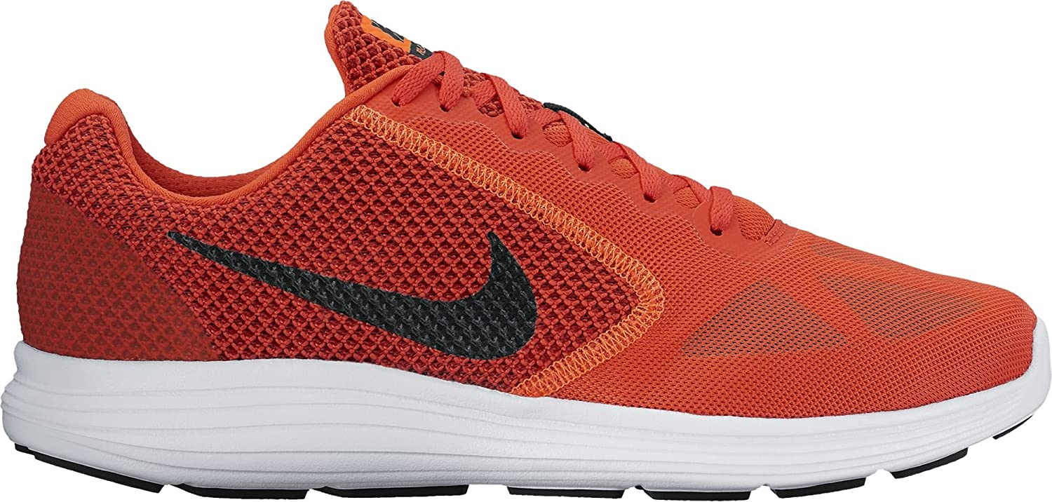 NIKE Mens Revolution 3 Running Shoe Max Orange/Black/Dark Cayenne 14 D(M) US