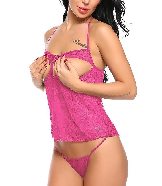 03b049b7db4 Amazon.com  ADORNEVE Women Sexy Cupless Lingerie Set Halter Open Cup  Babydoll Chemises  Clothing