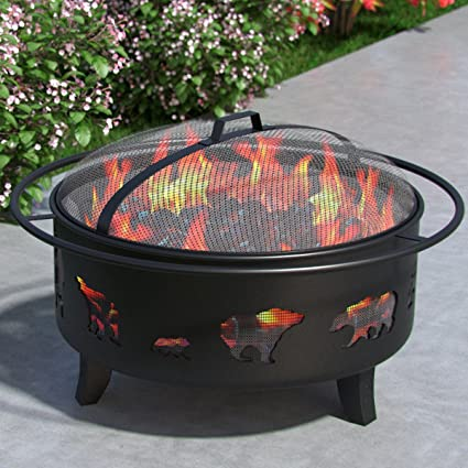 Wild Bear 35u201d Portable Outdoor Fireplace Fire Pit Ring For Backyard Patio  Fire, RV