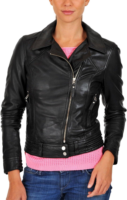 New Women Genuine Real Leather Jacket Ladies Slim Fit Biker Coat LFWN653