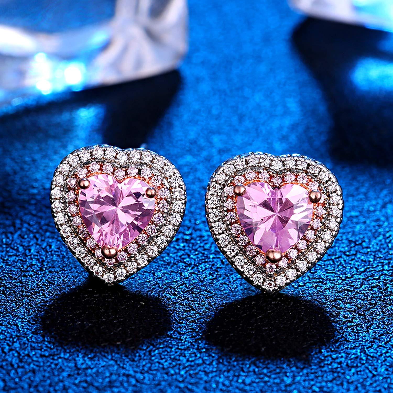 Cute//Romantic 925 Sterling Silver Love Heart Pink Quartz Gemstone Ear Studs Wedding Party Earrings