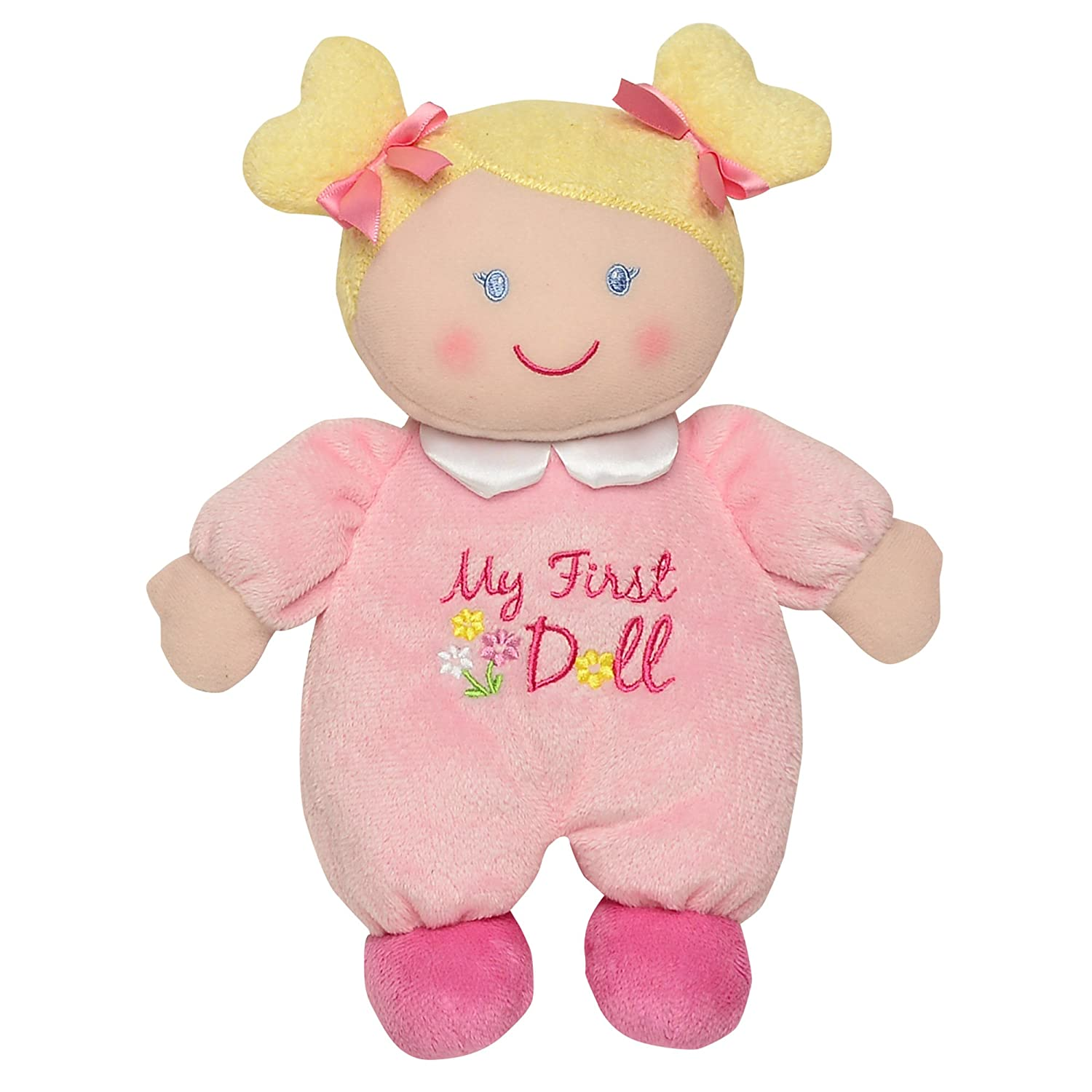"""Amazon Baby Starters """"My First Doll"""" Plush Blonde Pink Baby"""
