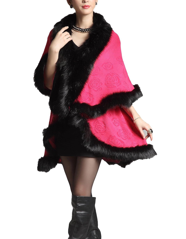 pink Red PENER Women's Faux Fox Fur Shawl Double Layers Cloak Cape