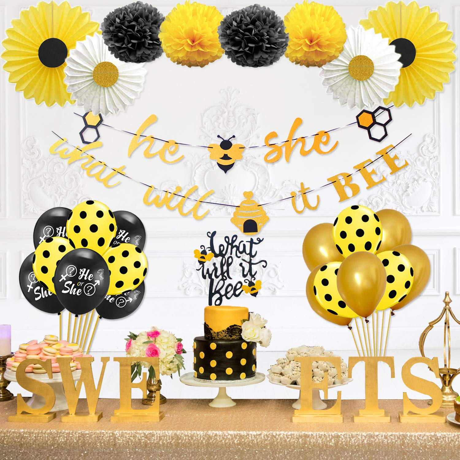 Party Inspo What Will It Bee Gender Reveal Party Supplies, Bumble Bee Baby Shower Decorations, Honey Bee Cupcake Toppers, Bee Balloons, He or She Banner, Tissue Paper Fans, Pom Poms
