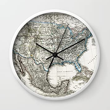 Amazon society6 vintage usa map wall clock white frame black society6 vintage usa map wall clock white frame black hands gumiabroncs Choice Image