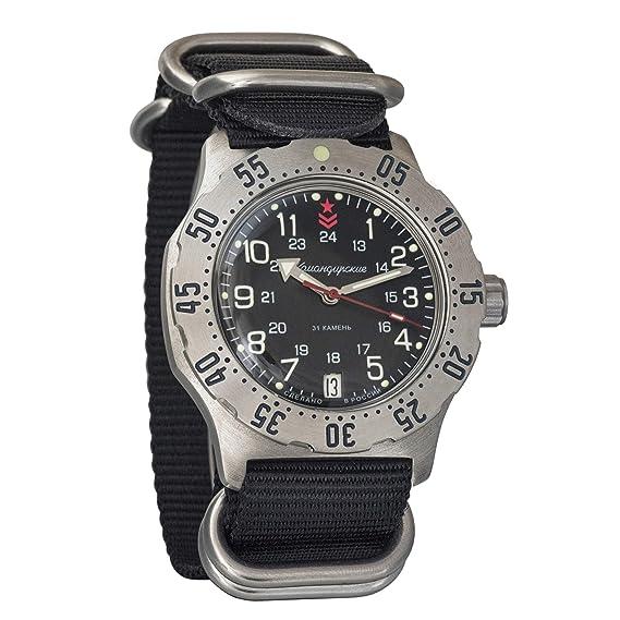 Vostok Komandirskie K-35 - Reloj de Pulsera automático Militar Ruso Auto Negro Zulu OTAN Band #350751: Amazon.es: Relojes