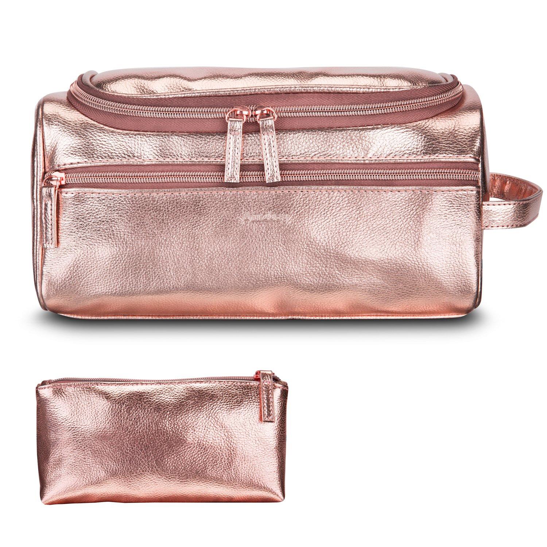 Amzbag Leather Toiletry Bag Travel Toiletry Organizer Portable Hanging Makeup Bag Dopp Kit & Shaving Cosmetic Bag for Women (Rose Gold)