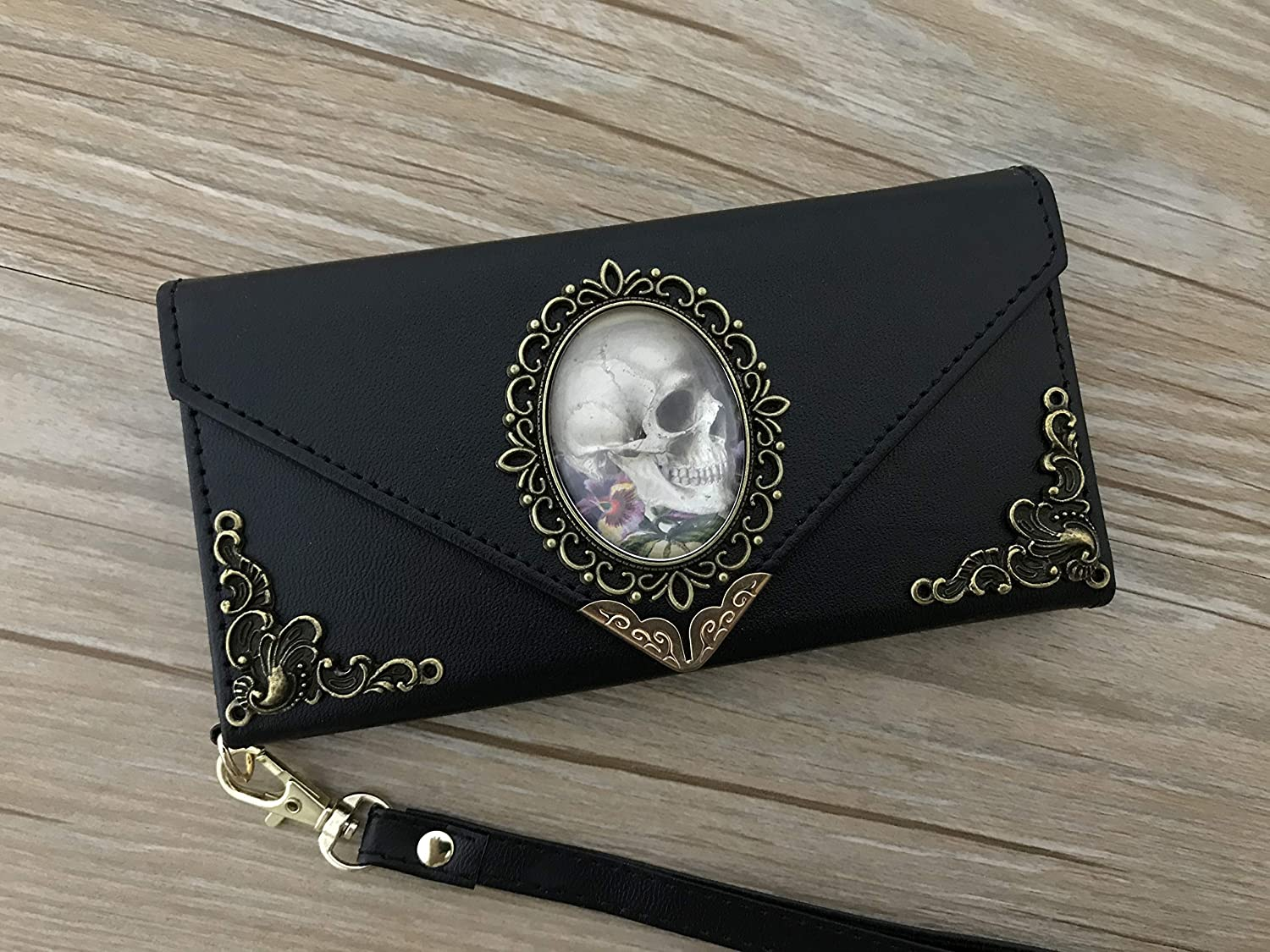 Antique goth skull envelope leather wallet handmade phone wallet case cover for X XS XR XS Max iPhone 8 7 6 6s Plus Samsung Galaxy S7 Edge S8 S9 Plus Note8 Note9 DC019