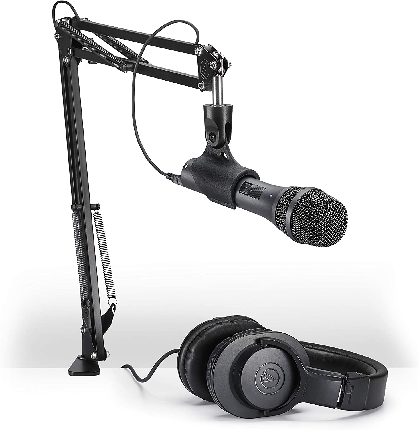 Audio-Technica AT2005USBPK Vocal Microphone Pack for Streaming/Podcasting, Includes USB and XLR Outputs, Adjustable Boom Arm, & Monitor Headphones,Black