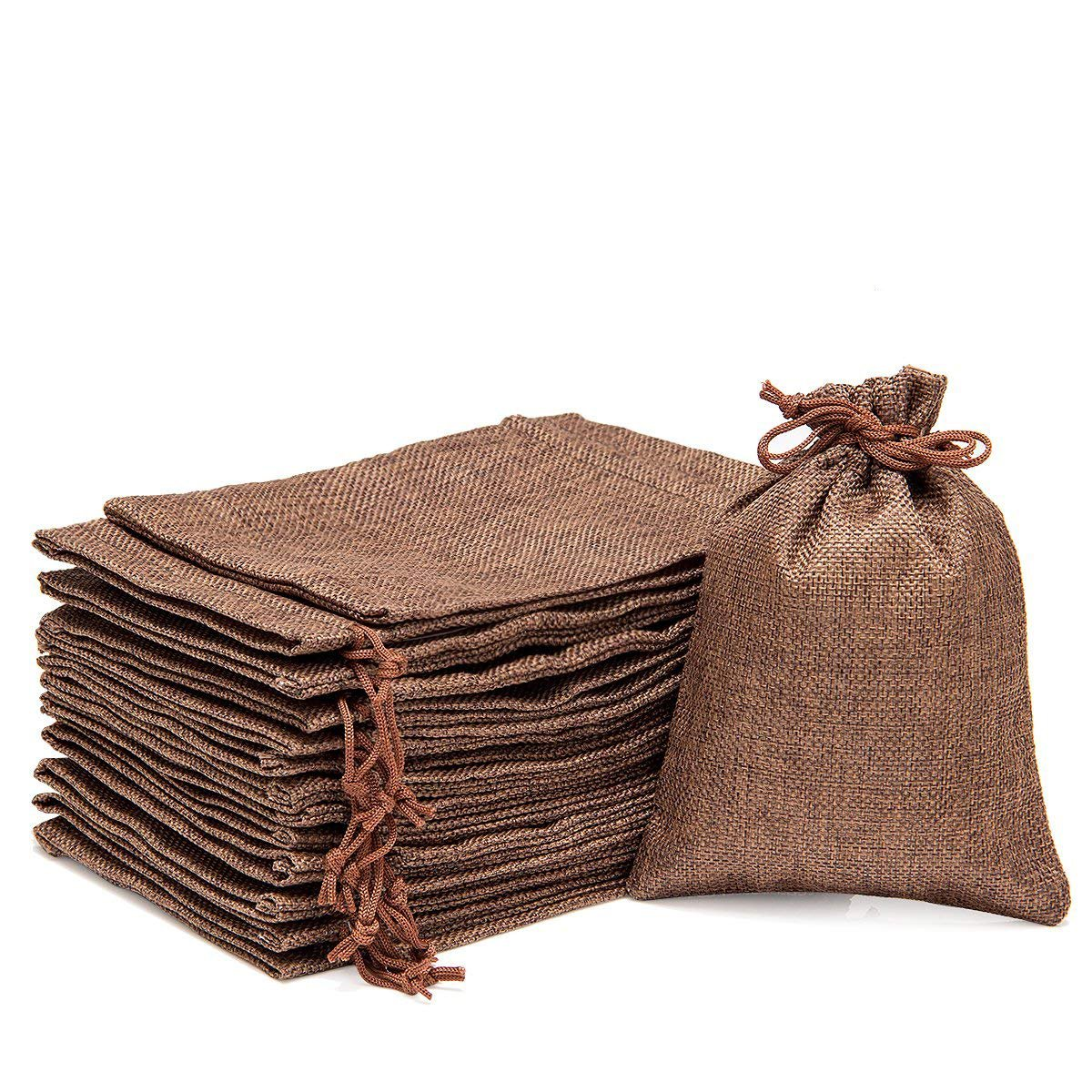 ANPHSIN 30 Packs Burlap Bag with Drawstring - 7.1'' x 4.9'' Gift Bag Jewelry Pouches Sacks for Wedding Favors, Party, DIY Craft and Christmas- Coffee Brown