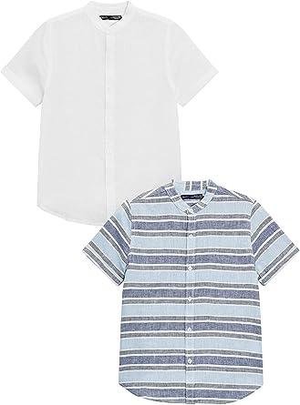 next Niños Pack De Dos Camisas Mezcla Lino (3-16 Años) Corte Estándar Blanco/A Rayas 16 años: Amazon.es: Ropa y accesorios