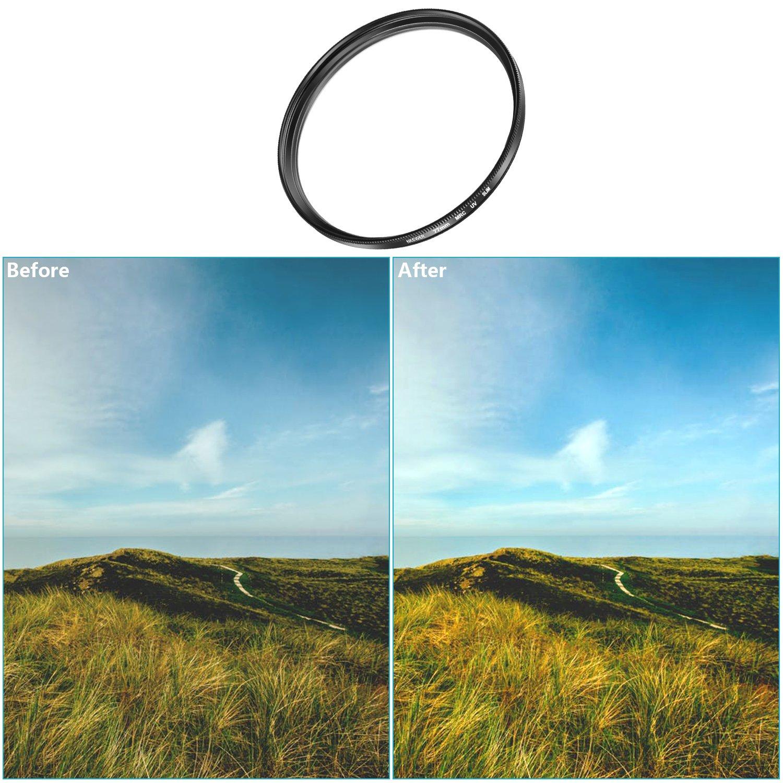 en Verre Optique Multi-Enduit et Cadre dAlliage Aluminium pour Canon Rebel T5i T4i T3i T3 T2i T1i DSLR Camera EF-S 18-55mm f//3.5-5.6 is II Neewer 58mm Filtre HD Protection UV dObjectif