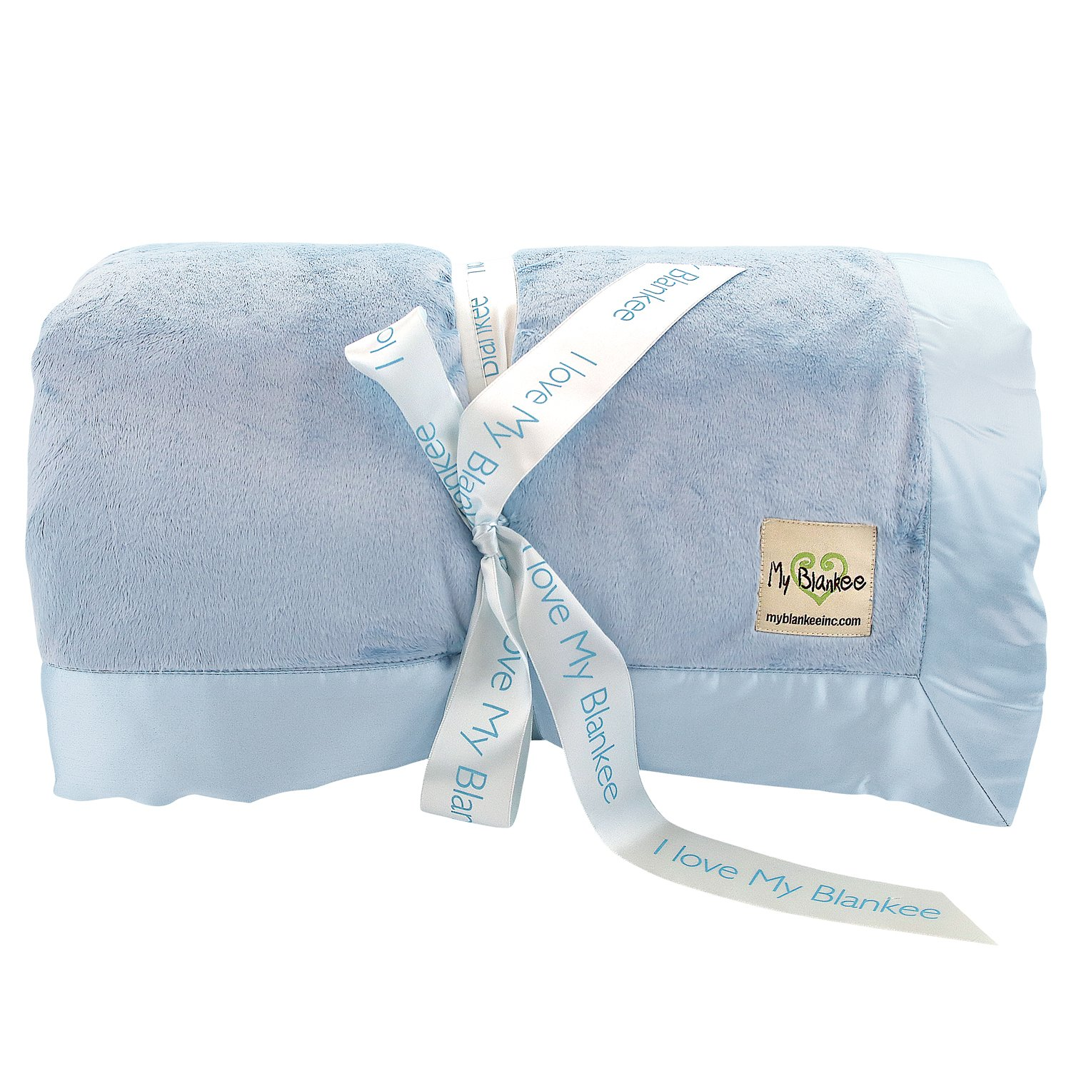 My Blankee Minky Solid King Blanket with Flat Satin Border, Blue, 108'' x 90''