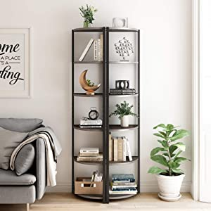 HOMECHO 6 Tier Corner Shelf, Industrial Corner Bookcase Small Display Rack, 65.4 inch Tall Storage Shelf Stand, Multipurpose Shelving Unit for Home Office, Dark Brown,Set of 2
