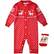 ZOEREA Unisex Newborn Baby Overall Long Sleeve Christmas Sweaters Coat Deer (Label 60/Age 1-4 Months, Red)
