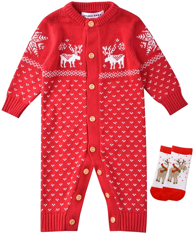 ZOEREA Unisex Newborn Baby Knitted Romper Christmas Sweaters+Socks Reindeer YS2458
