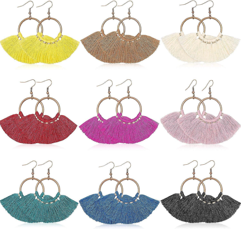 9 Pairs Statement Tassel Earrings Hoop Tassel Earrings Bohemian Handmade Dangle Ear Drops for Women Girls Party Favor (Style 1)