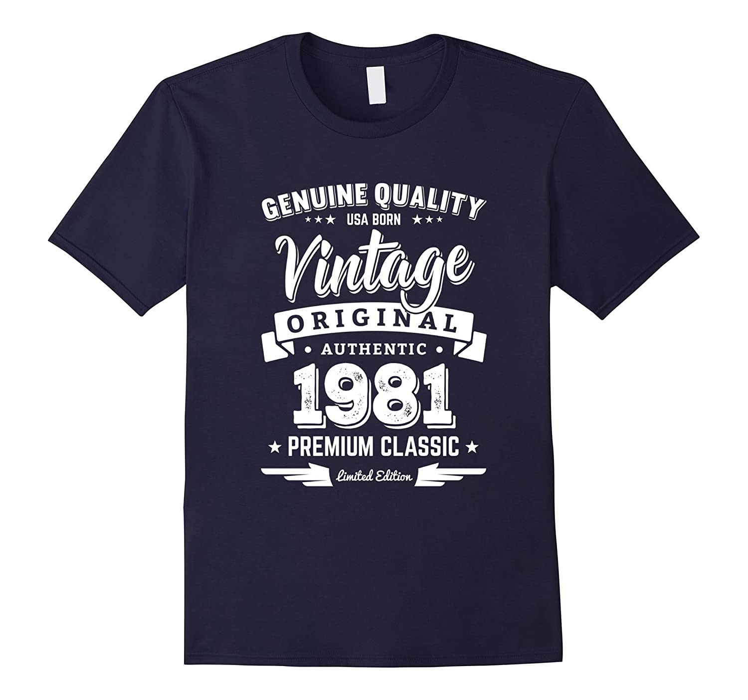 Born in 1981 Vintage Birthday T-Shirt - Made in 1981 Shirts-FL
