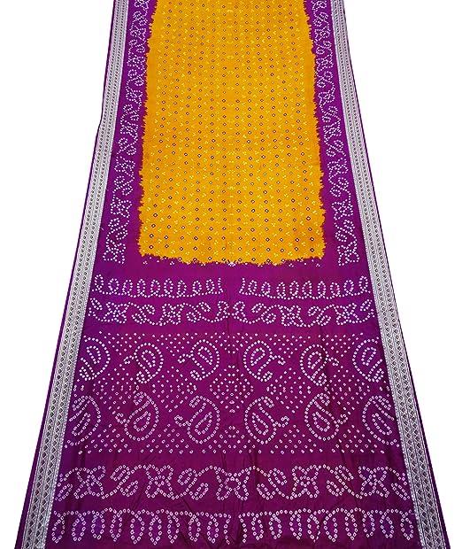 PEEGLI Sari Mujer India Corbata Amarilla Y Tinte Patrón De Seda ...