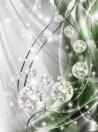 Vlies   Fototapete Tapete Wandbild  Abstrakt Diamanten und Silber Modern Kunst