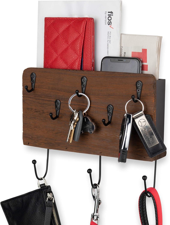 Wallniture Norfolk Entryway Organizer Wall Mounted Mail Letter Holder Rack with Coat Hanger Key Holder Hooks Wood Walnut