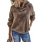 KIRUNDO 2021 Winter Women's Fleece Hoodies Sweatshirts Long Sleeves Shaggy Pullovers with Pockets Short Tops