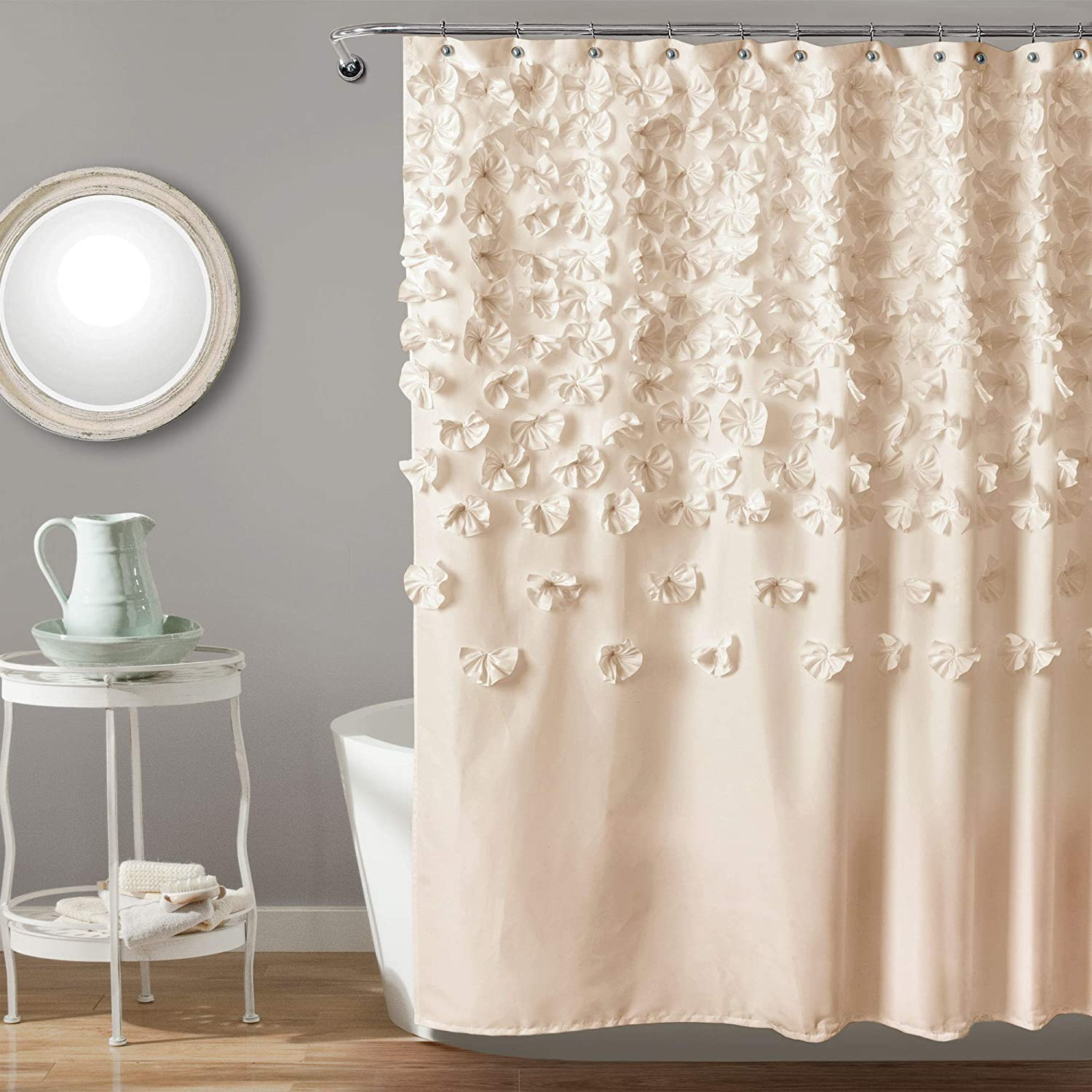 "Lush Decor Lucia Shower Curtain - Fabric, Ruched, Floral, Textured Shabby Chic, Farmhouse Style Design, 72"" x 72"", Ivory"