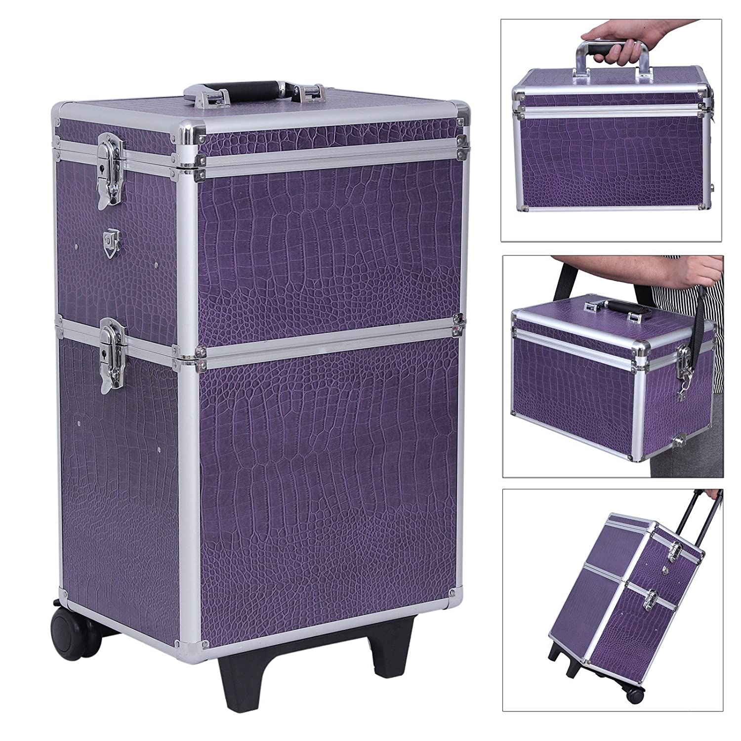 Songmics Large Beauty Nail Art Storage Tool Kit Trolley Alu 3 In