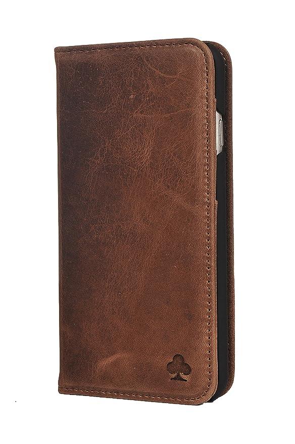 Porter Riley – Custodia per iPhone 8 / iPhone 7. Custodia/Flip / Cover/Supporto / in Vera Pelle Sottile di Prima qualità. (Marrone Cioccolato)