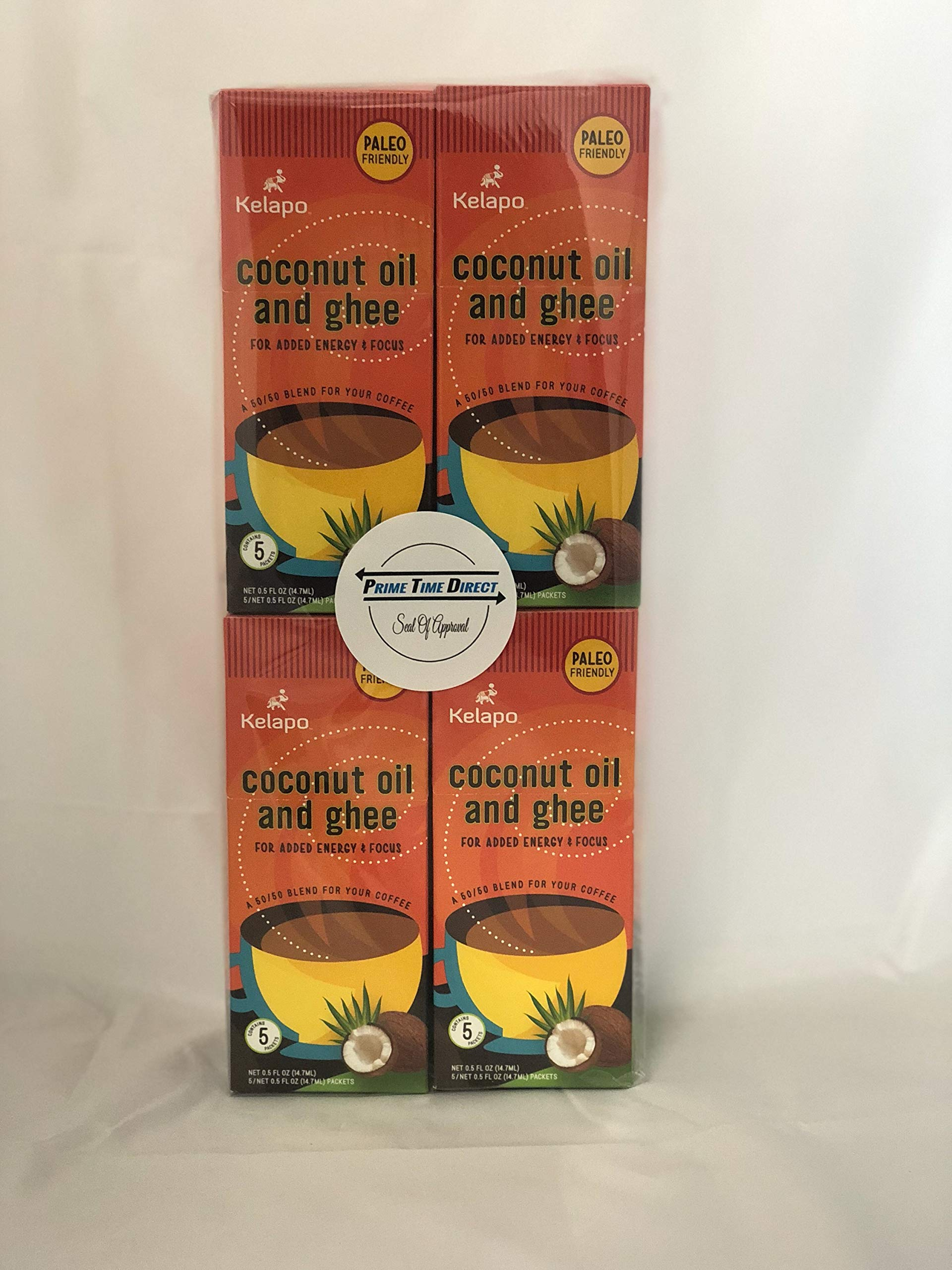 Kelapo Coconut Oil and Ghee 50/50 Blend Packets, 5 Packet Box (Pack of 4) in a Prime Time Direct Sealed Bag
