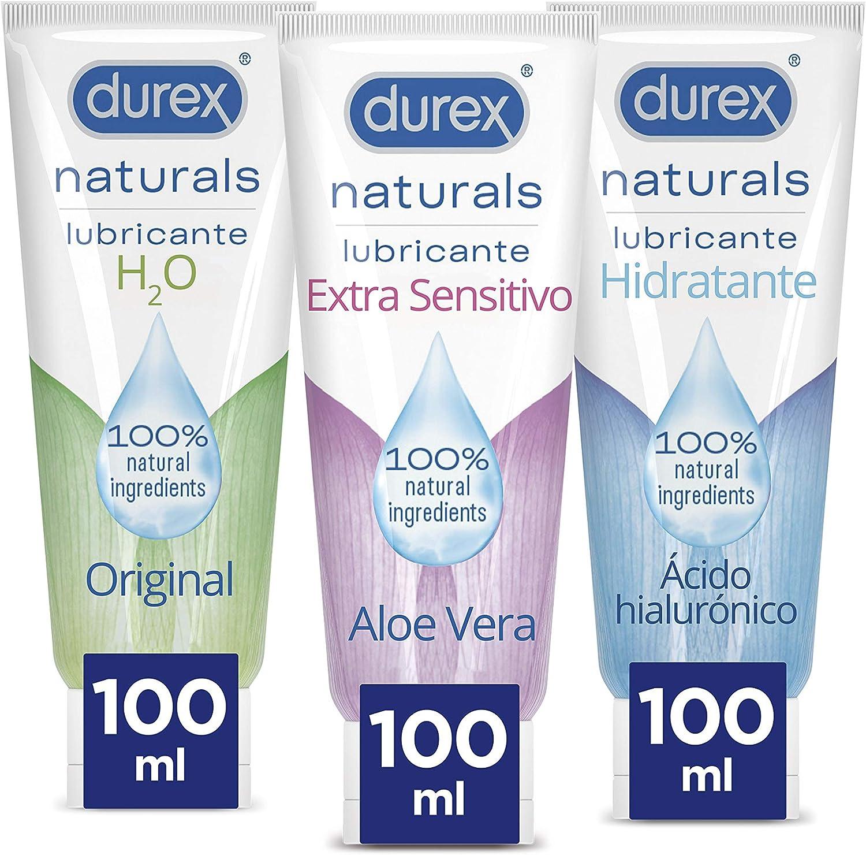 Durex Naturals Lubricante Intimo Extra Sensitivo 100 ml + Naturals Hidratante 100 ml + Naturals H2O 100 ml