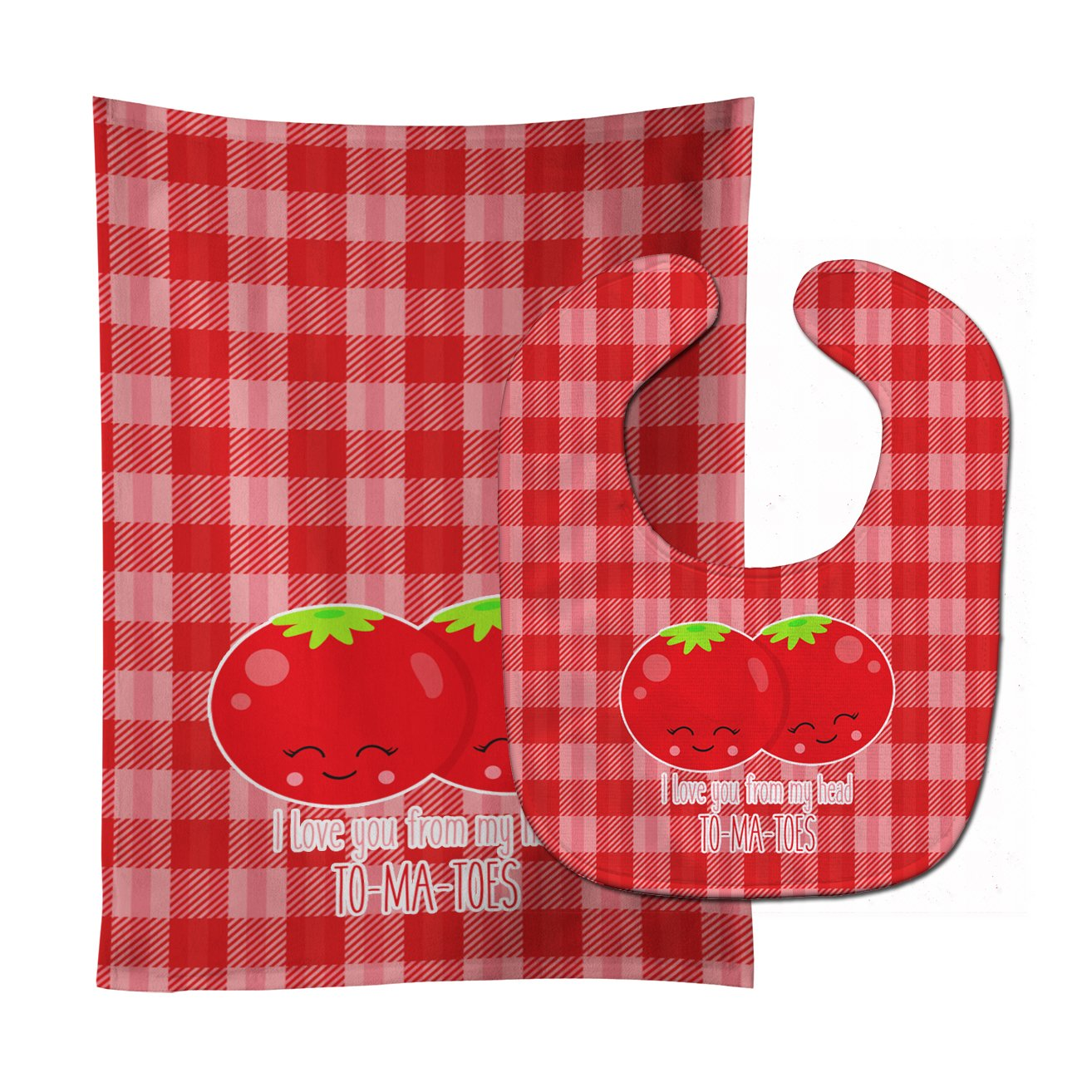 Caroline's Treasures I Love You From My Head To-Ma-Toes Baby Bib & Burp Cloth, Multicolor, Large