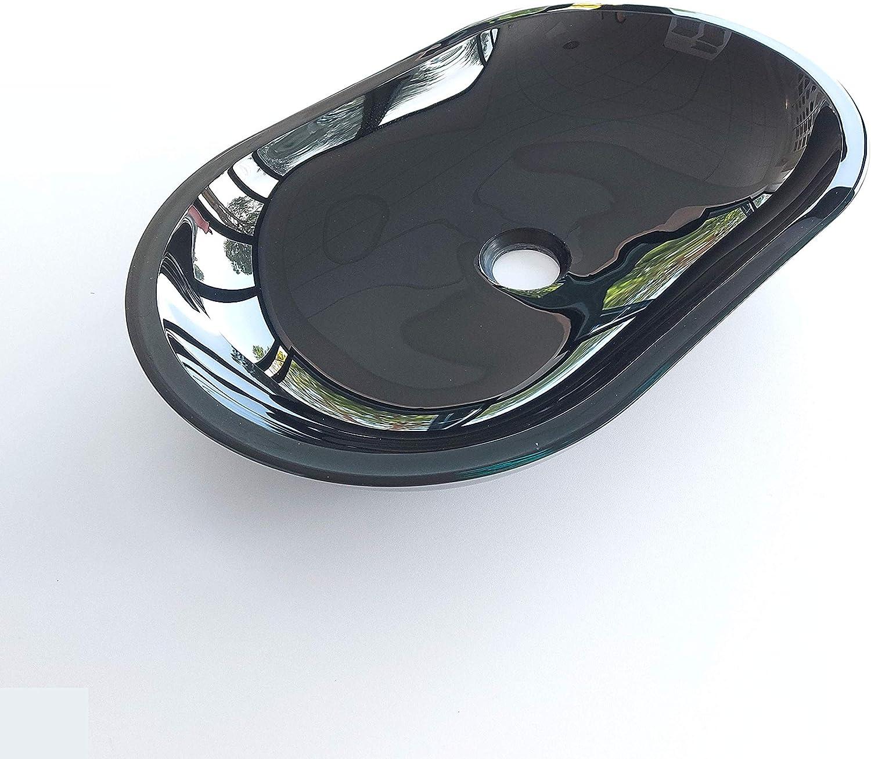 Lavabo ovalado de cristal templado doble capa negro brillante – 540 x 348 mm, altura 110 mm, grosor 18 mm (doble capa con pintura entre los dos cristales 8 + 10 mm).