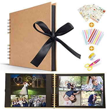 Homejoooy Scrapbook Albums with 80 Black Pages Handmade DIY Family Scrapbook Wedding Guest Book/Wedding Photo Album/Anniversary/Travel Memory Book Bonus Gift Box