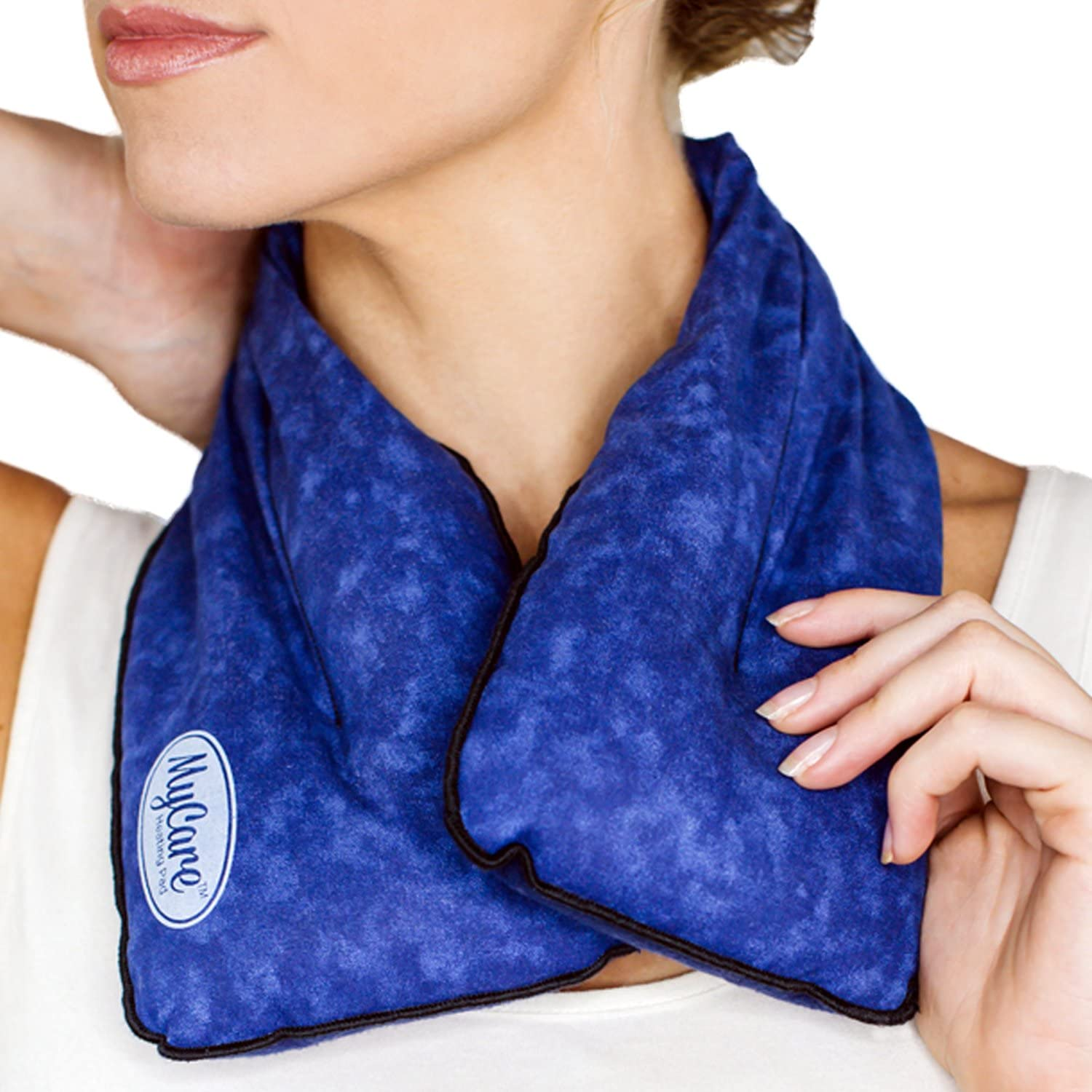 MyCare Heating Pad - Neck Wrap for Stiff & Sore Neck Pain Relief - Natural Rice Neck Pack That Provides Moist Heat & Soothing Cold Made with Care in The USA (Blue)
