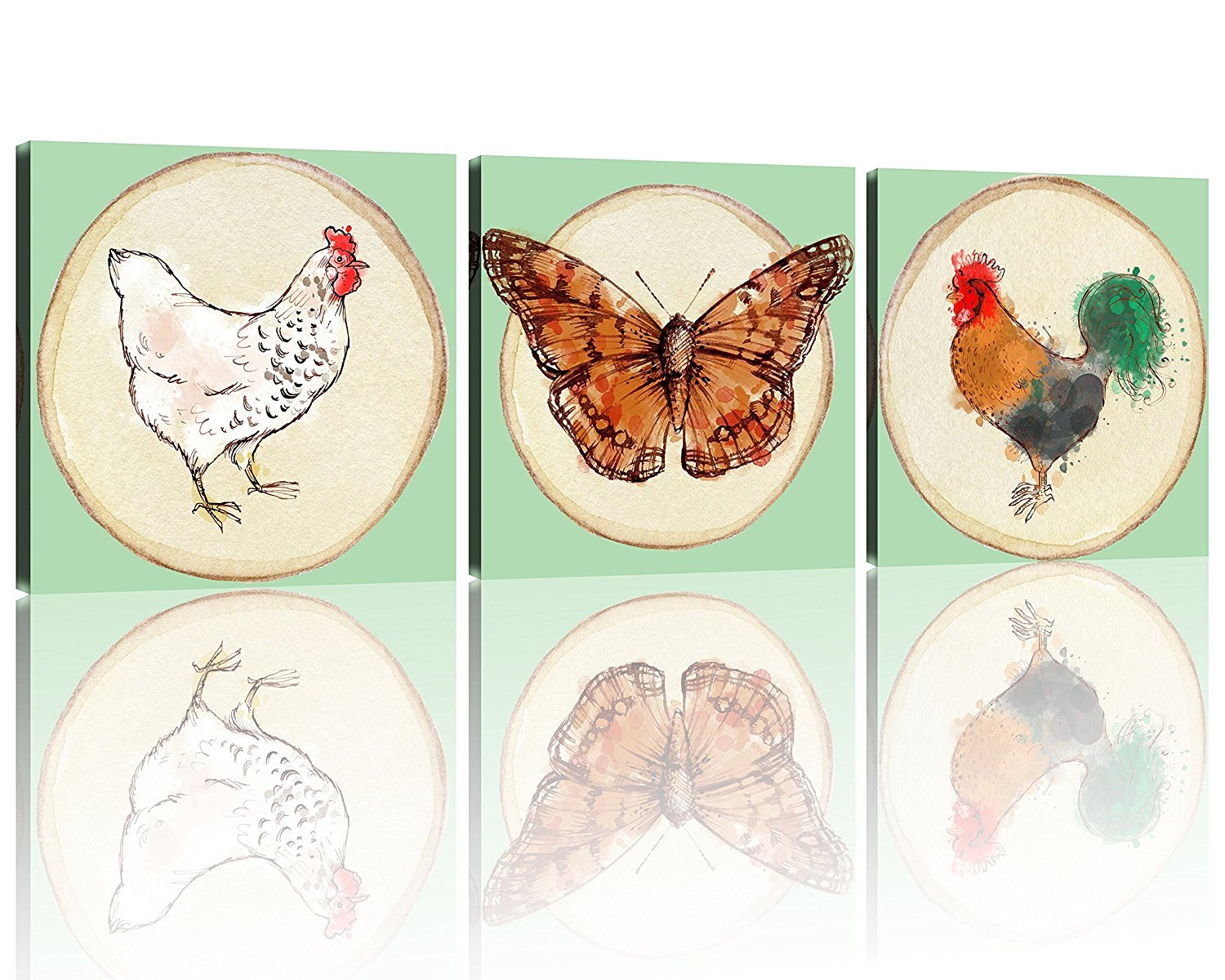 NAN Wind 3 Piece Modern Animal World Series Hen and butterflies Canvas Prints Modern Wall Art Paintings Giclee Artwork for Room Decoration,12X12 inch, Stretched and Framed