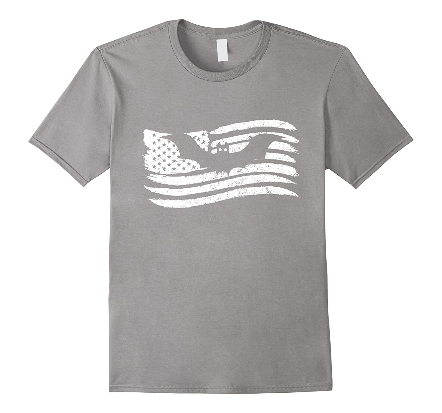 American Flag T-Shirt With Bat Vintage Look