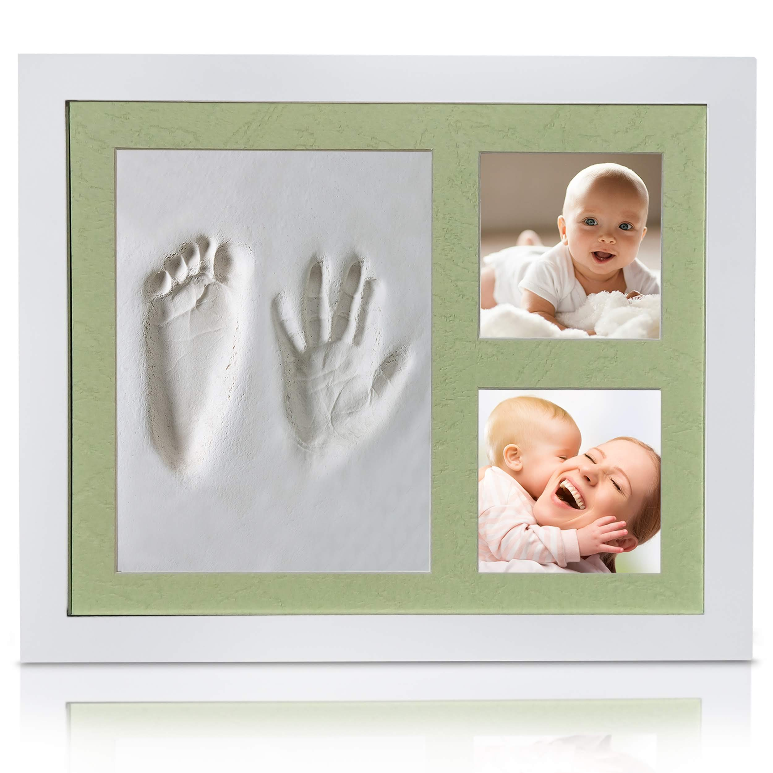 Veahma Baby Quality Clay Imprint Kit! White Wood Picture Frame|(LT Green) Mat|Non-Toxic Clay|Hand/Foot Print Kit|Baby Shower Gift for New Born Baby, Boy, Girl, Pet, Parents! Newest No Mold Version!